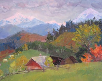 Аutumn Mountains, Snow peaks,  Landscape,  Carpathian Mountains, Original painting, Canvas Painting, Oil art by Anna Trachuk