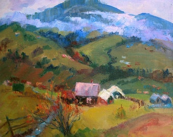 Spring  Mountains, Spring Landscape, Mountain village, Fog in the mountains,  Original painting, Canvas Painting, Oil art by Anna Trachuk