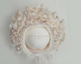 Vintage ivory flower bonnet - floral headpiece - Sitter Photo Prop - sitter flower bonnet - ivory - full bonnet- UK seller