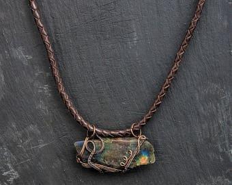 rough labradorite stone pendant with leather cord