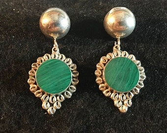 Vintage Taxco Sterling Silver and Malachite Earrings MARKED