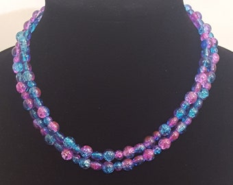 Blue and Pink Iridescent Glass Beads