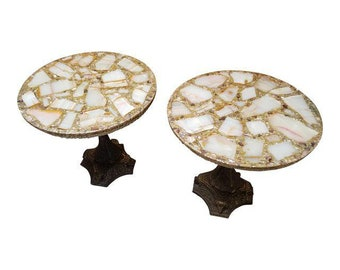 Hollywood Regency Arturo Pani Agate Quartz Resin Side Tables - Vintage Gold End Tables - Made in Mexico - a Pair