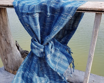 Natural Indigo Dyed Hand Spun and Hand Woven Cotton Scarf