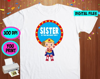 Superhero Girl. Iron On Transfer. Superhero Girl Printable DIY Transfer. Sister Shirt DIY. Instant Download. Digital Files Only.