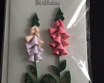 Handmade Happy Birthday Card, Quilled Card, Flowers, Mum, Daughter, Friend,