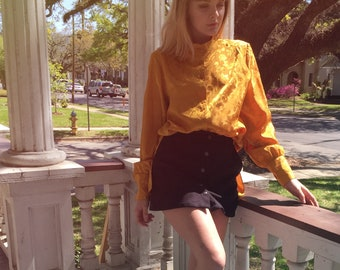 Button down floral polyester blouse