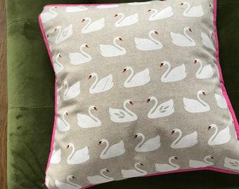 Swan print cushion