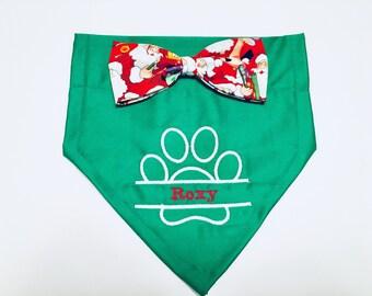 Christmas, Dog Bandana, paw with name, Christmas, Red, monogram, dog gift, stocking stuffer, Christmas Gift, dog lovers gift, photo shoot