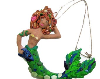 Mermaid with Fish Wall Hanging -Red Headed Mermaid - Polymer Clay WallHanging - Beach wall hanging - Green tail wall hanging