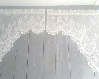 "Large White Lace Window Curtains. Vintage White Lace Window Toppers. Sheer White Lace Curtains. Pair of lace curtains. Made in USA. 30x30""."