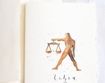 Libra greeting card, Libra Zodiac sign, Libra star sign, watercolor Libra, For Him, Birthday gift, star sign painting, watercolor zodiac art