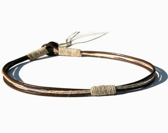 Round Brown leather & hemp surfer style necklace