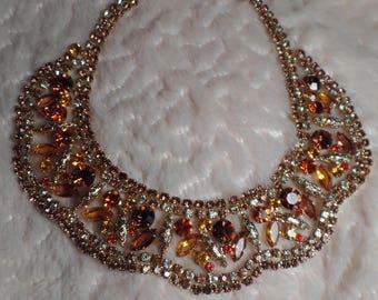 Fantastic Rhinestone Bib Necklace with Autumn Colors