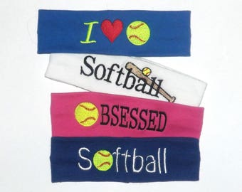 Clearance - Set of 4 - Softball Headbands - Comes As Shown In Photo - Fits Kids to Adults