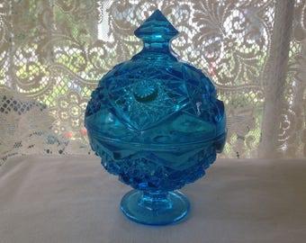 Covered Candy Dish Vintage Aqua Blue Glass Wedding Bowl Daisy Starburst Pinwheel Keys Pocket Change 1960s