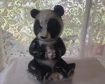 Ezra Brooks Panda Bourbon Decanter Marked Heritage China 1972 Vintage Bar & Home Decor 1970s