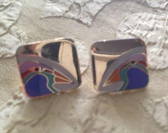 Laurel Burch TORI-MON Birds Square Cloisonne Earrings Post Style Vintage Jewelry 1980s