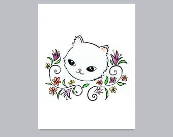 White Cat with Lilies Print