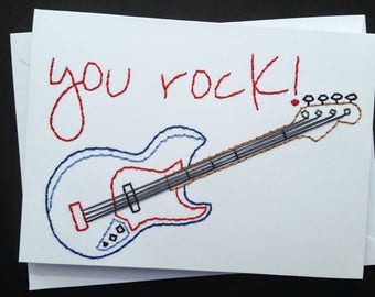 you rock hand-embroidered card