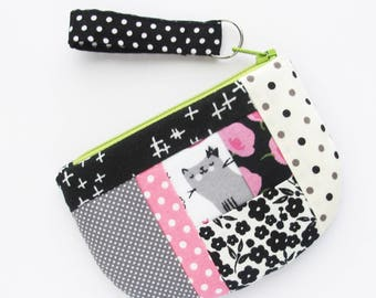 Business Card Case with Zip Top   Pink and Black Patchwork Zipper Mini Wallet Coin Change Purse Pouch