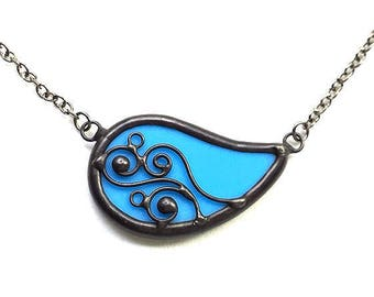 Paisley swirls blue stained glass necklace