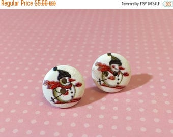 Christmas in July SALE. Snowman Studs, Christmas Earrings, Winter Earrings, Skiing Snowman Studs, Wood Button Studs, Fun Button Studs