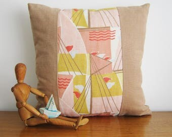 Nautical Cushion Cover - Mulberry Fabric 'Deco Sails' Sailing Boats