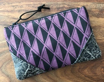 Small Zip Pouch - Dark Plum Diamond