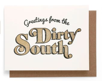 Greetings from the Dirty South Risograph note card