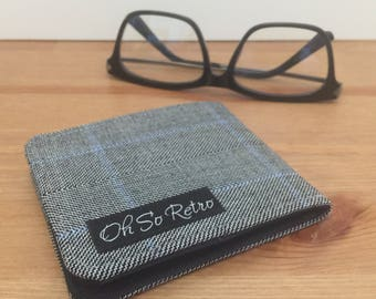 Mens Grey Herringbone Wool Wallet / Thin Billfold / Nonleather