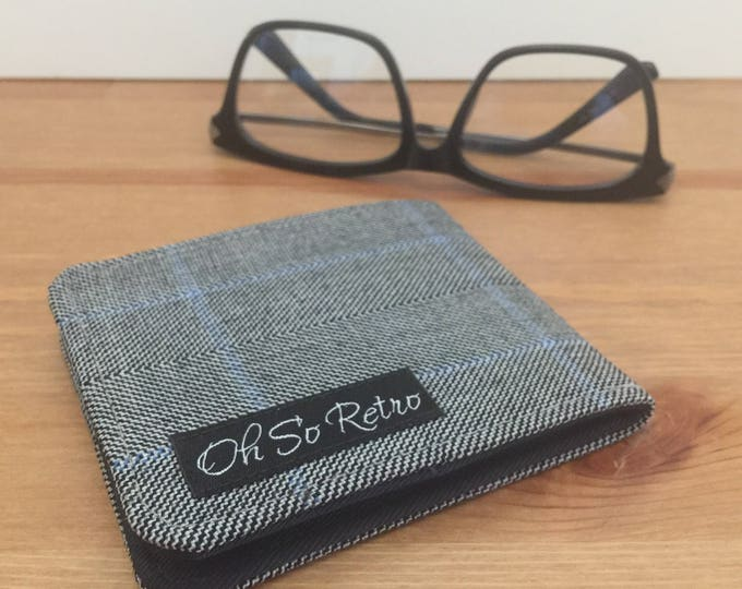 Mens Grey Herringbone Wool Wallet / Thin Billfold / Nonleather