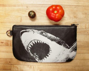 SHARK ATTACK Phone Case Pencil Case or Whatever Case in Upcycled Leather