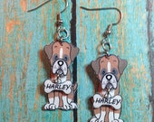 Handcrafted Plastic 3D Boxer Dog Earrings Personalized with Dog Name, Necklace or Keyring