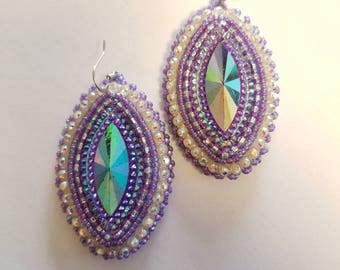Native American Beaded Earrings Purple