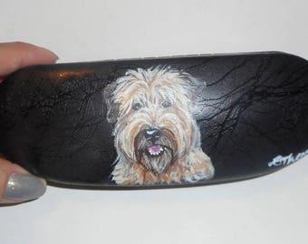 Soft Coated Wheaten Terrier Dog  Custom Hand Painted Eyeglass Case Vegan