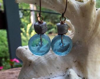 Vintage Sea Glass and Druzy Agate Earrings || Beach Lover Jewelry | Blue Sea Glass | Hippie | Boho | Wedding | Bride | Earrings Under 20