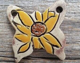 Ceramic Pendant  Butterfly Daisy  Stoneware by Mary Harding