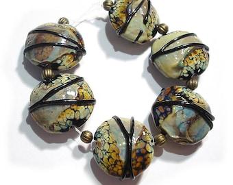Raku Shards, SRA Handmade Glass Lampwork  Beads