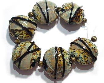 SRA Handmade Glass Lampwork,  Raku Shards Two