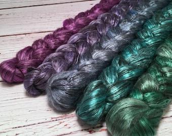 Handpainted Yak/Silk Roving Bundle - 5 oz. CARNIVAL - Spinning Fiber