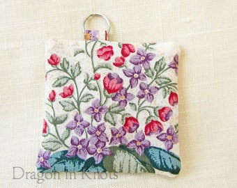 Flowers Mini Keychain Pouch - Earbud Holder, Guitar Pick Case, Floral Earplug Keeper, Mini Cotton Fabric Pouch, Pink and Purple Garden