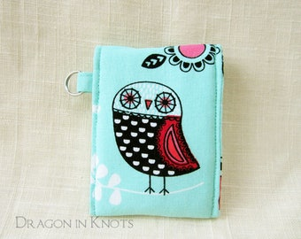 Owl Keychain Card Wallet - Aqua Lip Gloss Holder, Small Insulated Pouch for ID card and lip balm, modern abstract owl accessory