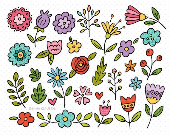 Doodle Flower Clip-Art / Hand Drawn Floral Artwork / C0002