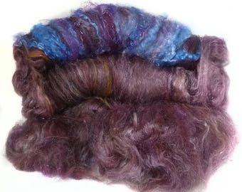 handcarded batt spinning fiber 4.9 oz