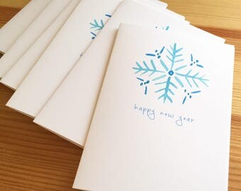Happy New Year Snowflake Cards - Watercolor Snowflake New Year Cards - Winter Snowflake New Year Cards - New Year Cards - Box of 6