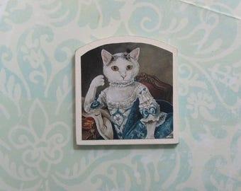 Dollhouse Miniature Elegant White Cat Art Print Panel