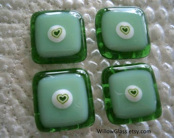 Fused Glass Cabochon in Millefiore Heart,  Shades of Green Glass Cabs, Willow Glass
