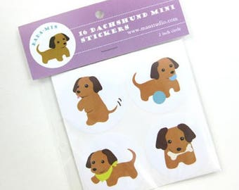Cute Dachshund Miniature Puppy Stickers ( DaDa-Min ) 2 inch Round 16 Labels Dog Theme