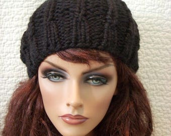 SALE Black Chunky Knit Hat with Pompom, Jet Black Beret, Slouch Tam Beanie